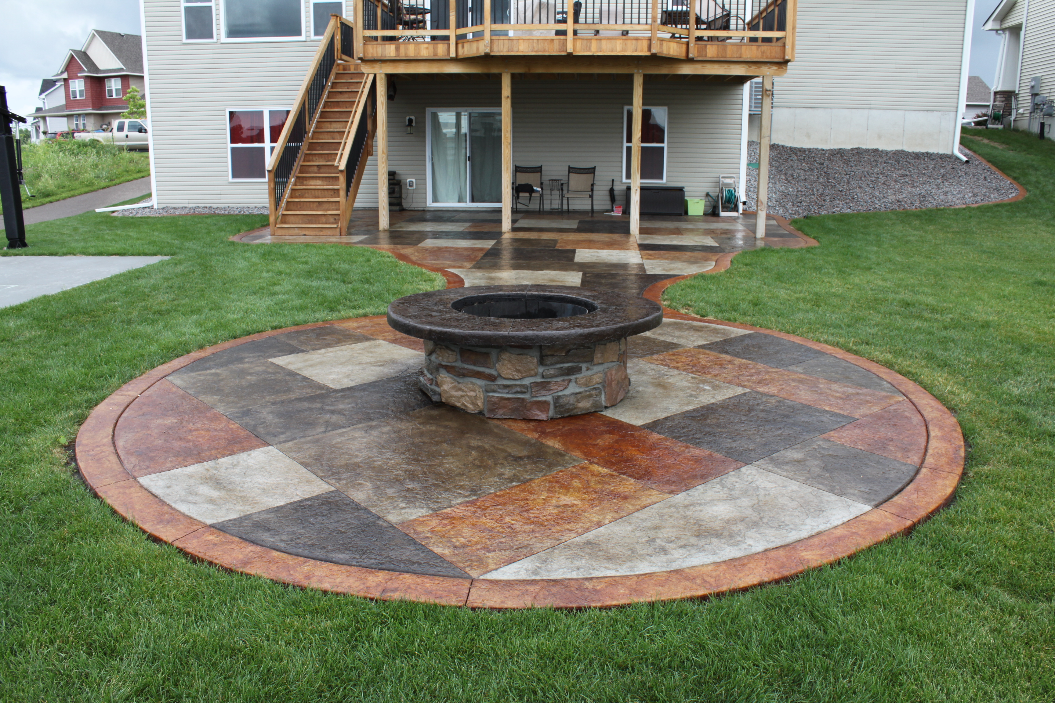 Nice Firepit And Ashlar Patio