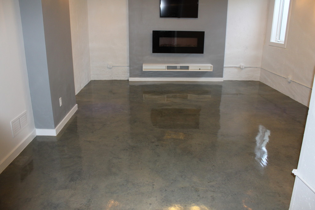 Gray Concrete Flooring : Gray stained concrete floor